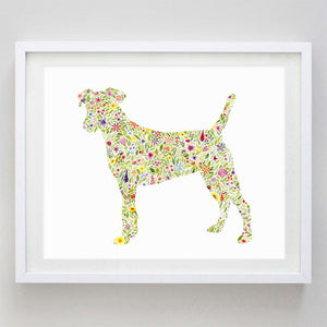 Jack Russell Terrier Floral Watercolor Print