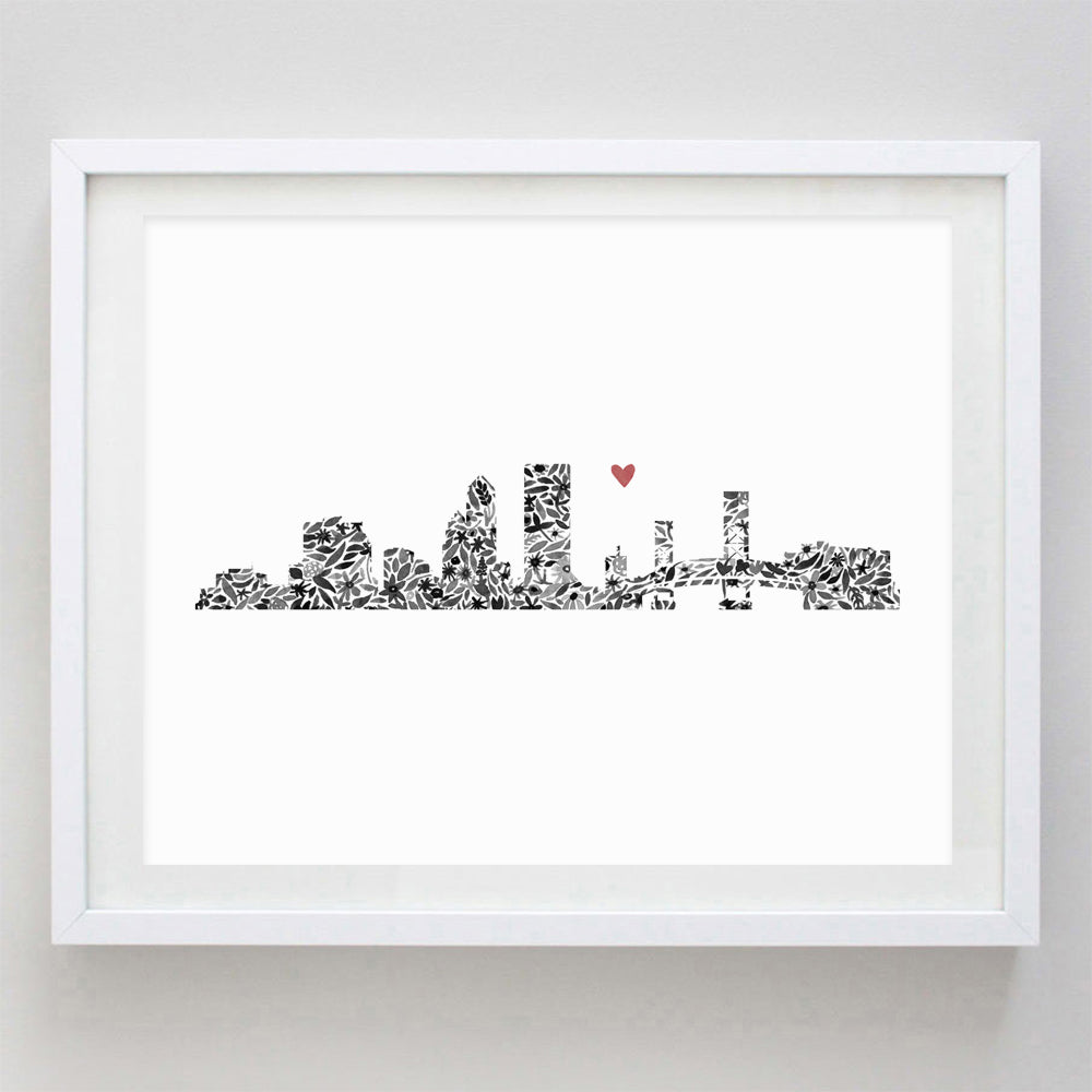 Jacksonville Skyline Floral Watercolor Print