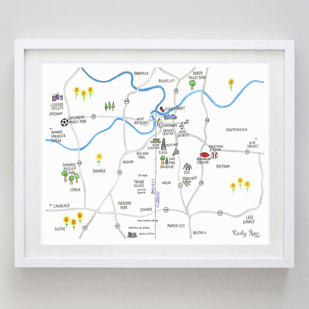 Kansas City Map Watercolor Print Carly Rae Studio