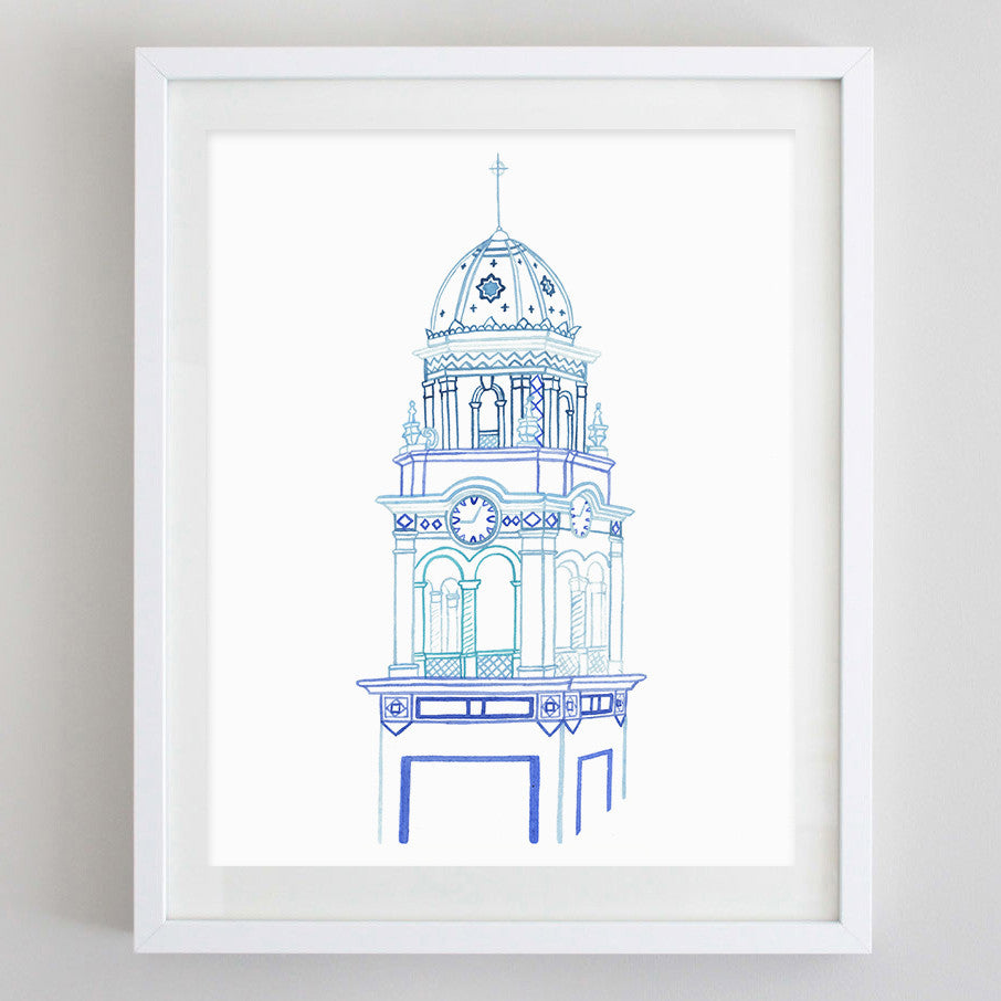 Plaza Clock Tower Watercolor Print