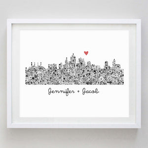Custom Skyline (any in the world) Floral Watercolor Print