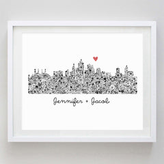 Los Angeles Skyline Floral Watercolor Print