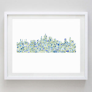Houston Skyline Floral Watercolor Print