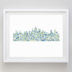 Washington DC Skyline Floral Watercolor Print