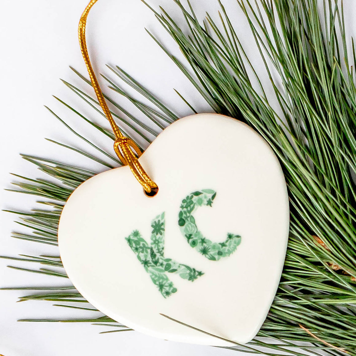 Heart KC Ornament - Green