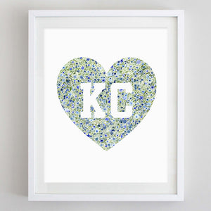 art print - KC heart floral watercolor print - carly rae studio