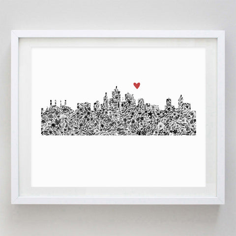 Kansas City Skyline Floral Watercolor Print