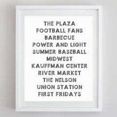Kansas City Words Watercolor Print