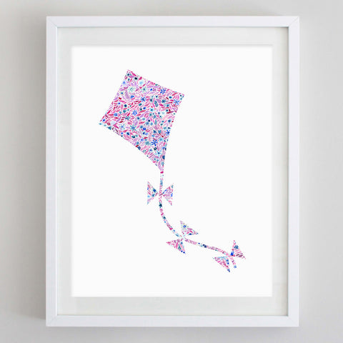 Kite Floral Watercolor Art Print - Kappa Alpha Theta