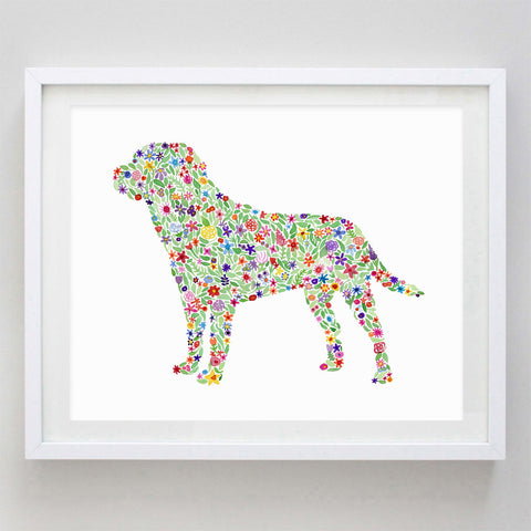 art print - labrador floral watercolor print - carly rae studio