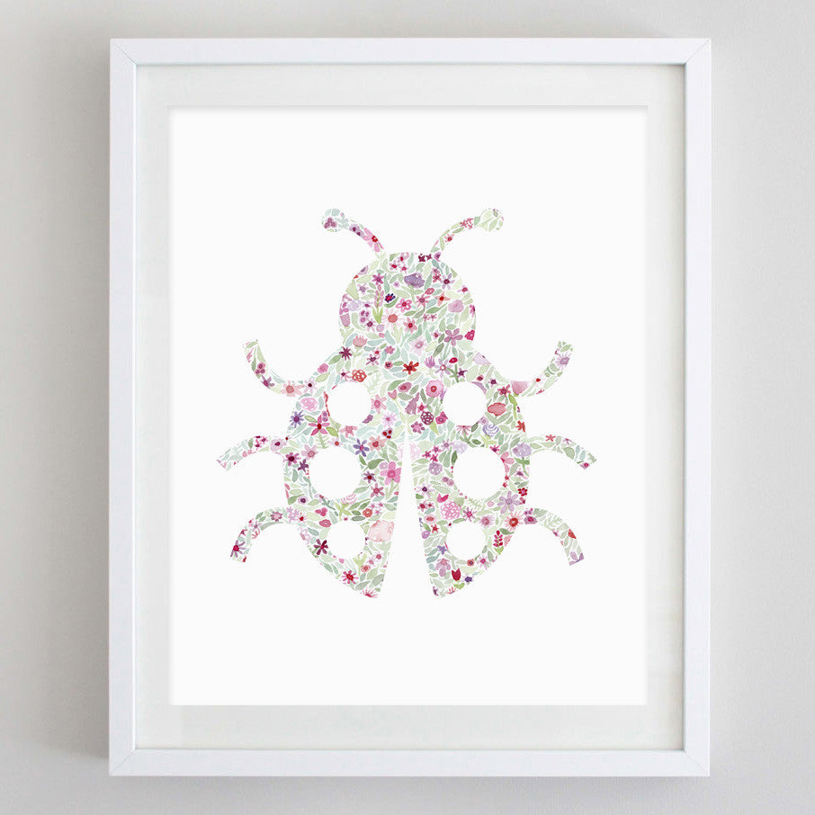 Ladybug Floral Watercolor Print