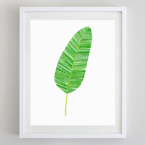 art print - banana leaf botanical watercolor print - carly rae studio