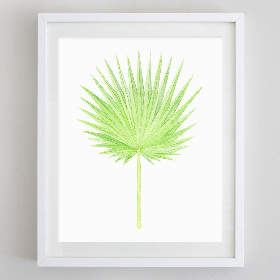 art print - fan palm leaf tropical botanical watercolor print - carly rae studio