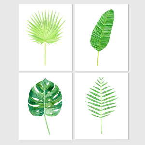 art print - set of tropical leaf botanical watercolor print - carly rae studio