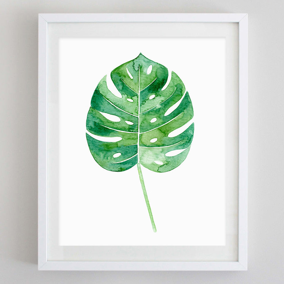 art print - philodendron leaf tropical botanical watercolor print - carly rae studio