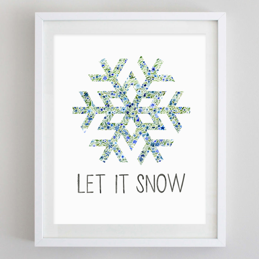 Let it Snow Snowflake Floral Watercolor Print