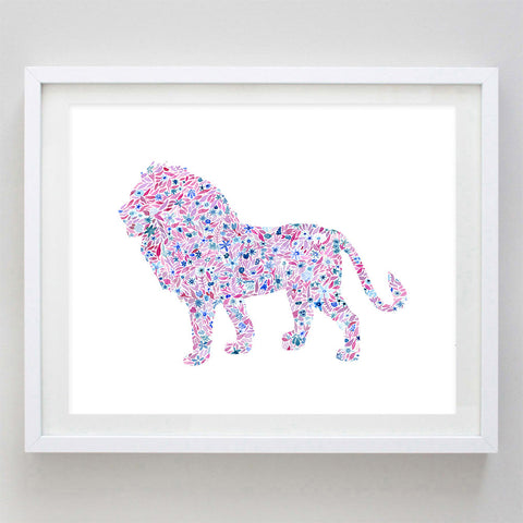 Lion Floral Watercolor Art Print - Phi Mu