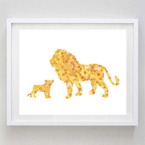 art print - dad and baby lion watercolor print - carly rae studio