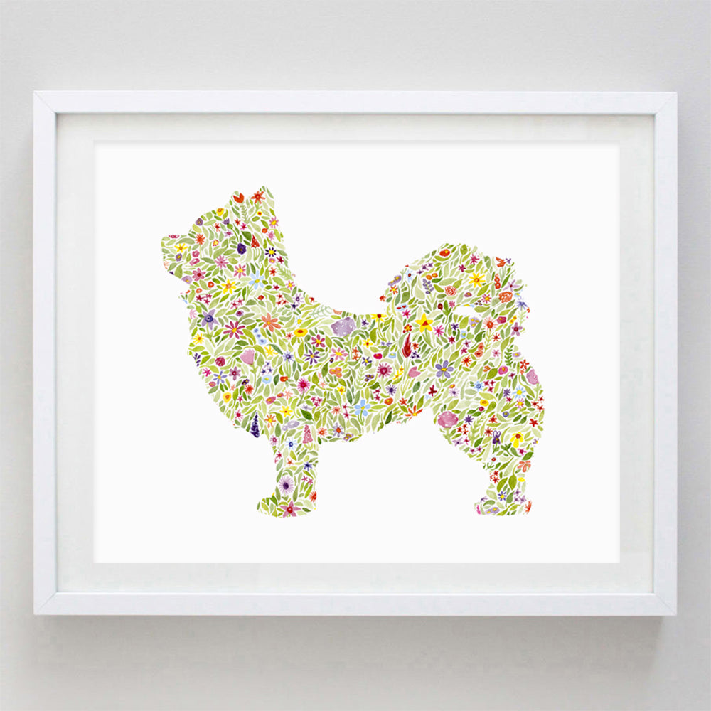 Long-Haired Chihuahua Floral Watercolor Print