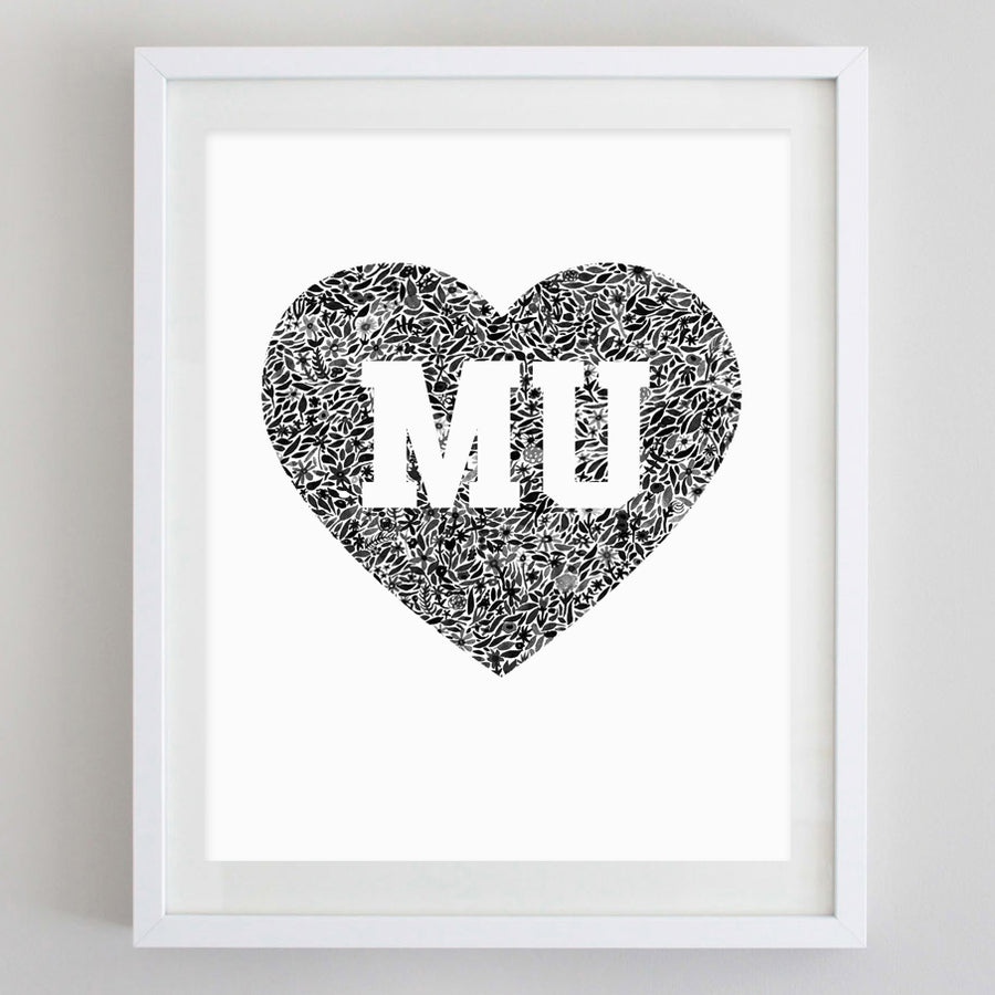 MU Heart Floral Watercolor Print