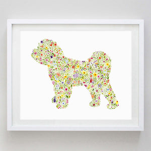 Maltipoo Floral Watercolor Print