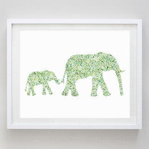 Mama and Baby Elephant in Green Watercolor Print