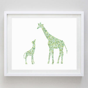 Mama and Baby Giraffe in Green Watercolor Print