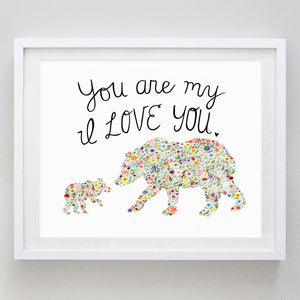 art print - mamma and baby bear ily floral watercolor print - carly rae studio