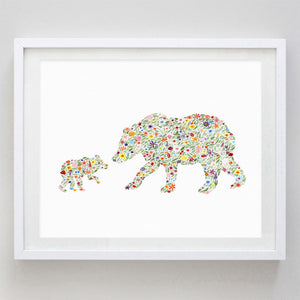 art print - mama and baby bear floral watercolor print - carly rae studio