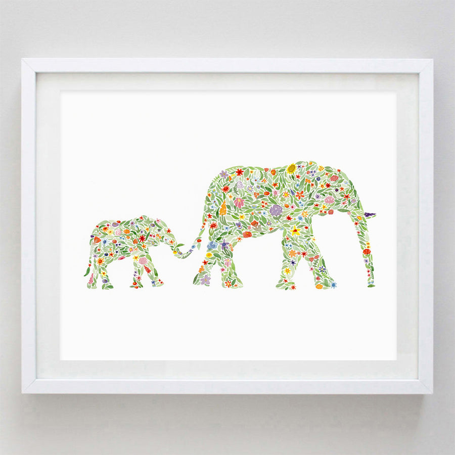 art print - mama and baby elephants floral watercolor print - carly rae studio