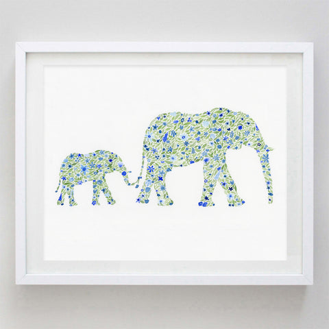 art print - mama and baby blue floral watercolor print - carly rae studio