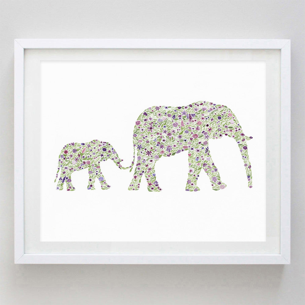 art print - mama and baby elephants purple floral watercolor print - carly rae studio