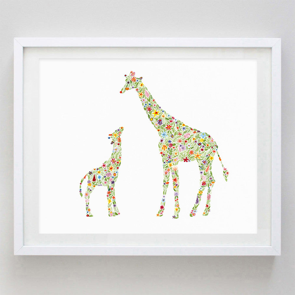 art print - mama and baby giraffe floral watercolor print - carly rae studio
