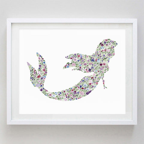 art print - mermaid floral watercolor print - carly rae studio