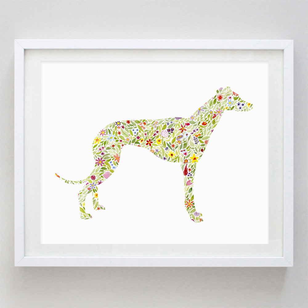 Miniature Italian Greyhound Floral Watercolor Print