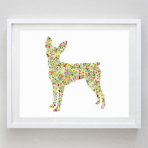 Miniature Pinscher Floral Watercolor Print