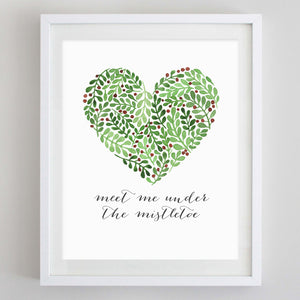 Mistletoe Quote Watercolor Print