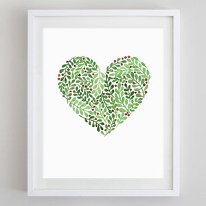 Mistletoe Heart Watercolor Print