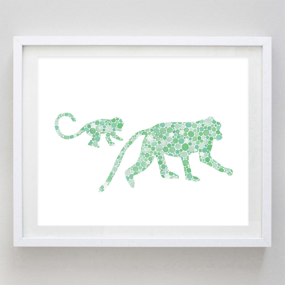 art print - mama and baby monkey green watercolor print - carly rae studio