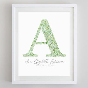 Custom Green Monogram Floral Watercolor Print
