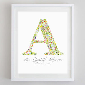 Custom Multicolor Monogram Floral Watercolor Print