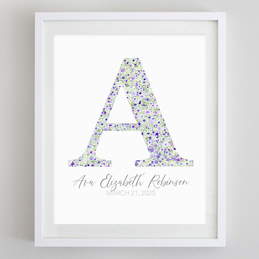 Custom Purple Monogram Floral Watercolor Print