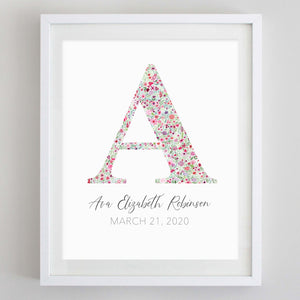 Custom Pink Monogram Floral Watercolor Print