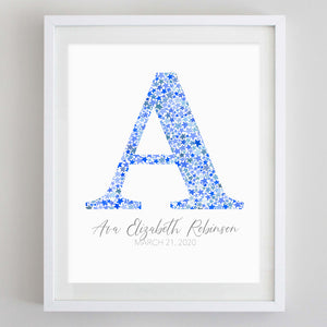 Custom Monogram Stars Watercolor Print Blue