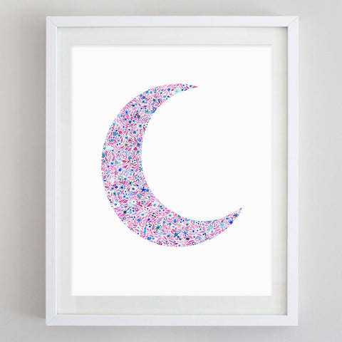 Moon Floral Watercolor Art Print - Gamma Phi Beta