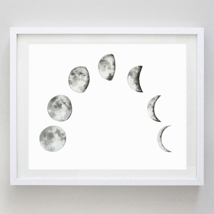 Moon Phase Watercolor Print