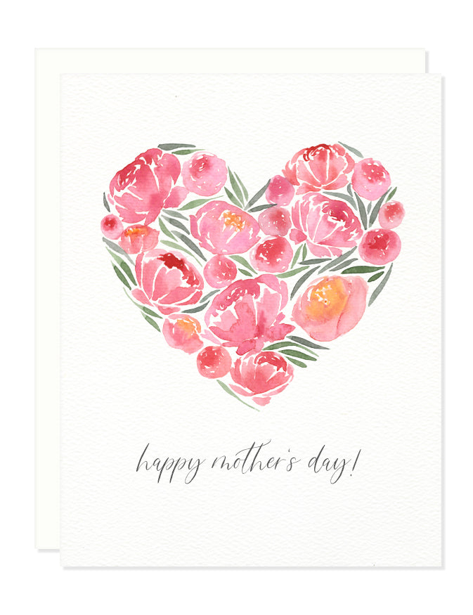 Mother's Day Peony Heart Greeting Card