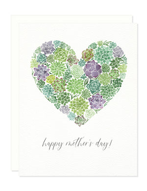 Mother's Day Succulent Heart Greeting Card