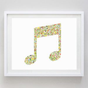 Music Note Floral Watercolor Print