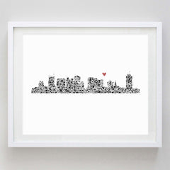 Nashville Skyline Floral Watercolor Print